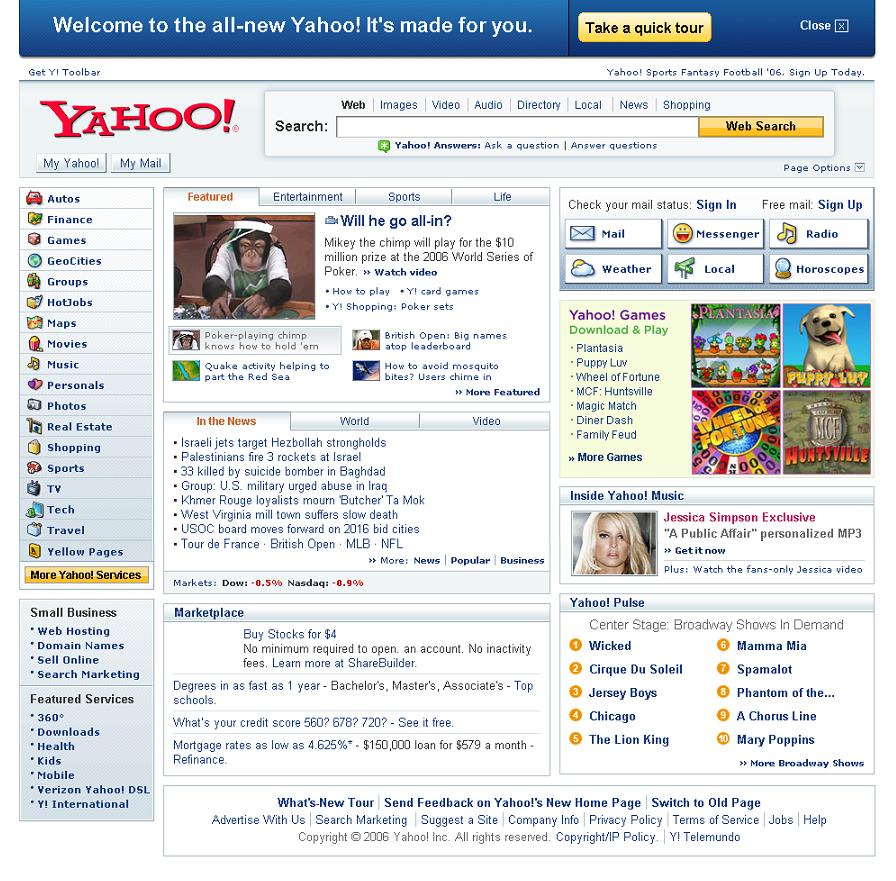 De Homepage van Yahoo in 2006